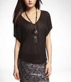 # ExpressJeans-BURNOUT DOUBLE-V WEDGE TEE at Express