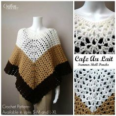 Cafe Au Lait Summer Shell Poncho Cre8tion Crochet pattern FREE for one weekend only. Giveaway ends at midnight on 04/11/14