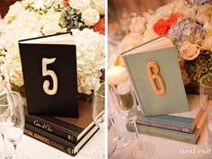 Or surround them with flowers and use the books as table numbers - I love this