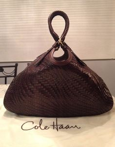 "Cole Haan Genevieve 19"" Woven Leather Weave Brown Hobo Tote Hand Bag Purse EUC! #ColeHaan #TotesShoppers GORGEOUS!!! BEAUTIFUL WOVEN LEATHER WEAVE LARGE TRIANGLE BAG IN A STUNNING, LUSCIOUS CHOCOLATE BROWN COLOR!!! SALE!!! WOW!!!"