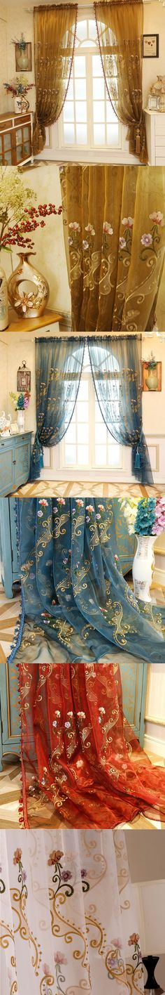 Home Decor Window Blue Luxury Sheer Curtains For The Bedroom Butterfly Embroidery Flower Tulle Free Shipping 150x260cm $42.99