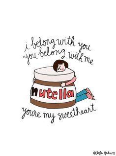 Nutella Ho Hey 5x7 Print by roaringsoftly on Etsy {Nutella, we belong together.}