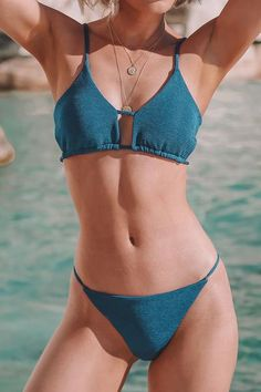 Cheeky and stylish, the Sea Blue Thin Strap Bikini is a must-have for your beach. Bikini Sets, Bikini Swimwear, Bikinis, Pantone Turquoise, Kids Bathing Suits, Fashion Shopping Apps, Strap Bikini, Women Swimsuits, Live Life