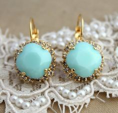 Mint Crystal big hook earring  14k plated gold post by iloniti, $48.00