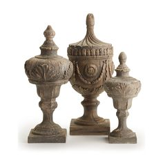 Top off a shelf or mantle with the rustic style of the Passport Collection Aquitaine Finials Statues - Set of Crafted from strong resin, these elegant finial sculptures are carefully painted and detailed in natural brown tones to look like aged wood. Urn Vase, Tuscan Design, Tuscan Decorating, Baroque Fashion, Aquitaine, Traditional Decor, Decorative Objects, Rustic Style, Painting On Wood