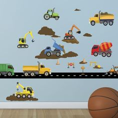 Construction Truck Wall Decals makes it super easy to decorate your boys room wall in a fun construction theme. Just peel and stick the trucks, road & dirt