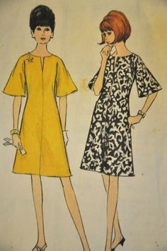 McCalls 8184 1966 Dress Pattern  Sz 12-Bust 32, Waist-25,Hips-34  Cut and complete  Misses Dress: Four section dress, lightly fitted by french darts