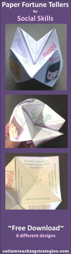 "This paper ""fortune teller"" is part of a set of six to be used to stimulate interest in social skills teaching."