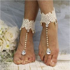 HARLOW  lace barefoot sandals - Catherine Cole Studio  - 1
