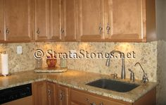 Quartz Pebble Tile Kitchen Backsplash Picture