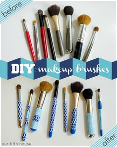 Use decorative tape to make old, beat up makeup brushes pretty again! // via @Carmel Keane (@ Our Fifth House) Phillips