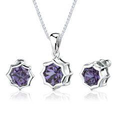 Exclusive Splendor: 10.00 carat Concave-Cut Snowflake Shape Alexandrite Pendant Earring Set in Sterling Silver Rhodium Finish . $89.99. Save 70%!