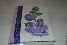 Купить Блокнот с вышивкой Цветущая роза - фиолетовый, вышивка, блокнот ручной работы, блокнот с нуля