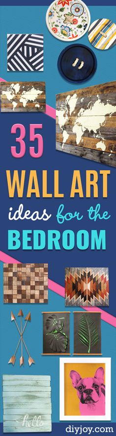 35 Wall Art Ideas for the Bedroom -  Rustic Decorating Projects For Bedroom, Brilliant Wall Art Projects, Creative Wall Art, Do It Yourself Crafts, Easy Wall Art, Bedroom Decor on a Budget, Bedroom http://diyjoy.com/wall-art-ideas-bedroom
