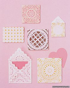 Quick! DIY Your Sweetie a Valentine's Day Card Tonight: Create lace-like envelopes for your valentines using paper doilies.