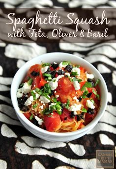 """6 minutes to skinny - Spaghetti Squash With Feta, Olives, and Basil - Watch this Unusual Presentation for the Amazing to Skinny"""" Secret of a California Working Mom Veggie Dishes, Veggie Recipes, Side Dishes, Vegetarian Recipes, Dinner Recipes, Cooking Recipes, Healthy Recipes, Basil Recipes, Quiche Recipes"""