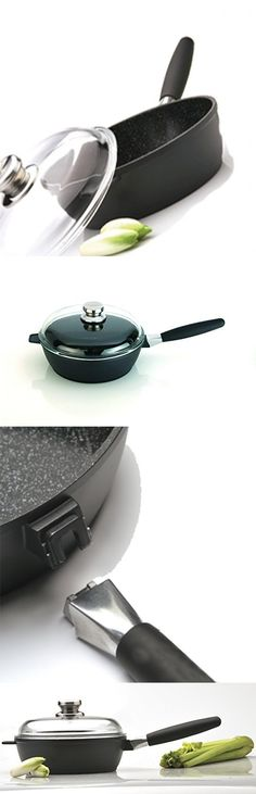 "Eurocast Professional Cookware 9.5"" Saute Pan with Glass Lid and Removable Handle"