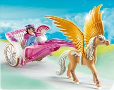 Amazon.com: Playmobil Fairytale Princess with Pegasus Carriage Set: Toys & Games