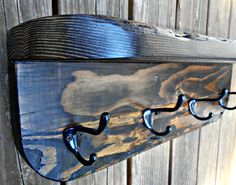 "Wood Coat Rack -Shelf, Rustic Wall Shelf Rack, Wall Rack with Hooks, made from Recycled Pine Lumber,24"" long"