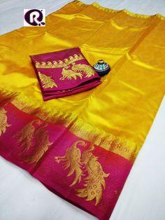 Beautiful Exclusive pure embossed kanjivaram tussar silk saree with contrast blouse new peacock border and pallu / dyed saree /Indian saree
