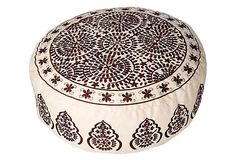 Embroidered Round Pouf, Ivory/Brown    Forgotten Shanghai    $179.00