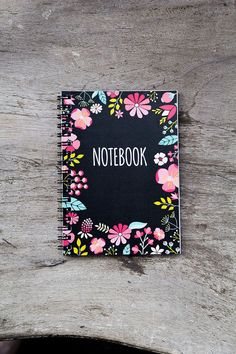 Flower notebook, spiral notebook journal, lined notebook, pocket notebook, blank book pages, travel accessories, spring floral art favor