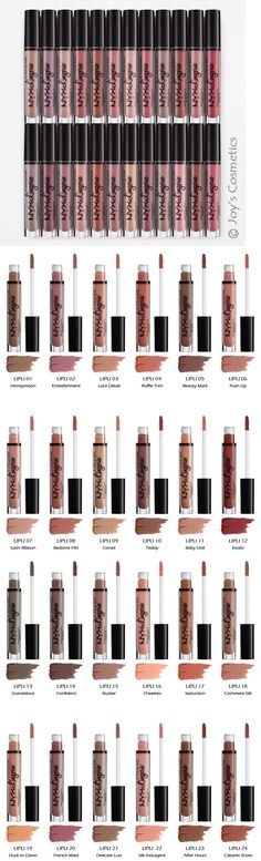 24 NYX Lip Lingerie Liquid Lipstick// i'm currently wearing bedtime flirt Nyx Lip Lingerie, Makeup Trends, Makeup Inspo, Makeup Inspiration, Makeup Ideas, Makeup Swatches, Drugstore Makeup, Best Nyx Cosmetics, Skin Makeup