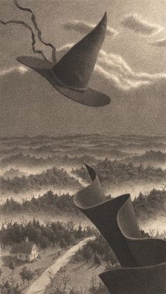 Illustration from The Widow's Broom by Chris Van Allsburg fantastic book, favorite author/illustrator Halloween Illustration, Illustration Art, Halloween Art, Vintage Halloween, Halloween Witches, Season Of The Witch, Vintage Witch, Mystique, Witch Art