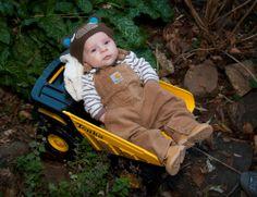 Baby in Carharts and Tonka truck- Baby in Tonka truck- RJN Photography