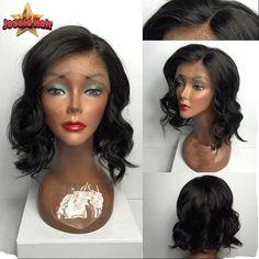 74.20$  Buy here - http://aliu9b.worldwells.pw/go.php?t=32695518001 - 8A Short Human Hair Bob Wigs For Black Women Virgin Brazilian Bob Full Lace Front Human Hair Wigs African American Bob Lace Wigs 74.20$
