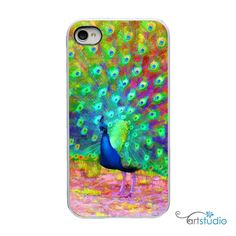 Painted Peacock Feather Bird with White, Black or Clear Sides iPhone Case - IPhone 4, 4s, 5 Hard Cover - Art Trendy  - artstudio54