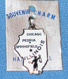 Vintage 1960's Travel Souvenir Cloisonne Enamel Charm - Illinois - NOS