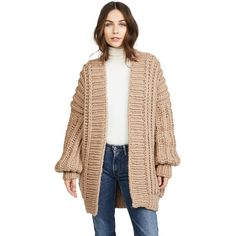 I Love Mr Mittens Fishermans Cardigan (€380) ❤ liked on Polyvore featuring tops, cardigans, taupe, long sleeve tops, cardigan top, beige cardigan, oversized cardigan and oversized long sleeve top