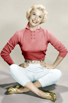 Doris Day - 1948 | vintage 40s style | 1940s coral pink shirt, wide belt, white slim legged trouser pants, and gold shoes