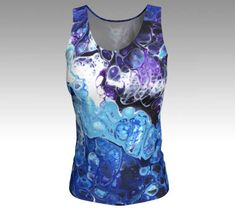 Blue Womens Tank Top  Fitted Top  Ladies Stretch Tops  Blue #tanktop #women #fashion #instyle #gym #workout #motivation #blue #bluetops #purple #tees #clothes #art #abstract #modern #contemporary #unique #musthave #customdesign #workout #style #colorful #tops #stretchytop #jerseyfabric #artprint #summer #nyc #LES #artist #painter
