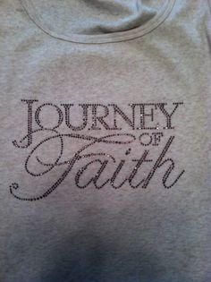 Grey journey of faith tee with purple rhinestone letters