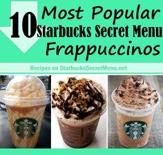 10 Most Popular Starbucks Secret Menu Frappuccinos Starbucks Secret Menu Drinks, Starbucks Recipes, Coffee Recipes, Starbucks Cookies, Starbucks Frappuccino, Starbucks Coffee, Yummy Drinks, Yummy Food, Refreshing Drinks