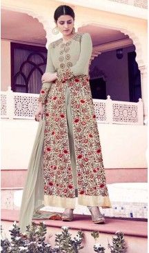 Anarkali Style Georgette Fabric Party Salwar Suit in Dove Color   FH520078963 #heenastyle , #boutique , #pakistani, #salwar , #kameez , #suit , #dresses , #styles , #fashion , #clothing , #henna , #designs , #mehndi , #more , @heenastyle , #party , #online