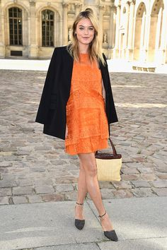 Brilliant orange lace. #PFW