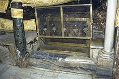 this is the manger in the basement of the church which lies under the birth star of jesus