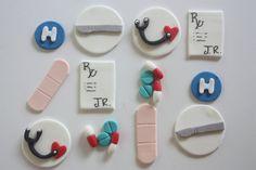 12 Fondant cupcake toppersdoctor surgeon medical by PastelFiesta, $14.00