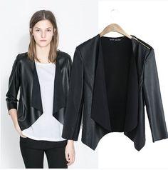 5ef044f6a3 Click to Buy    2017 Brand Spring Long Sleeve Slim Leather Jacket Women  Fashion Jaqueta De Couro Zippers Epaulet Black Chaquetas De Cuero Mujer   Affiliate
