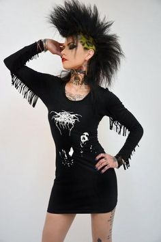 Custom made DARKTHRONE dress! Professionally sewn. Altered from a black men's t-shirt. Long black fringe sleeves. So sexy and comfortable! Soft stretchy cotton fabric.