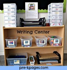 How to set up a writing center in preschool or kindergarten via www.pre-kpages.com Shelves with pens, diff kinds/colours/sizes of paper etc - YPK