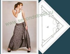 Note that Amalthee Creatins' sarouel skirts are much more narrow! Sarouel skirt pattern (link is not useful; pinned for the drawing) Sewing Patterns Free, Clothing Patterns, Dress Patterns, Sewing Pants, Sewing Clothes, Fashion Sewing, Diy Fashion, Pantalon Aladdin, Tulum