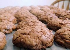 """Almond Joy Cookies - this is the """"three""""dozen version. Don't make them too big when putting them on the cookie sheet. I did that on the first batch and the bottom was a bit toasty to get the """"dough"""" to cook. Cookie Desserts, Fun Desserts, Cookie Recipes, Delicious Desserts, Dessert Food, Yummy Drinks, Yummy Food, Almond Joy Cookies, Yummy Cookies"""