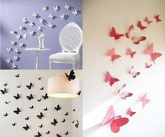 Butterfly Stickers... I'm SO gonna make these for the empty wall in the living room!  Multi-color, of course!