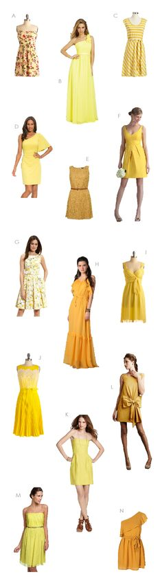 Southern Weddings - Yellow Bridesmaid Dresses...I like the 3rd one down on the right hand side!! with brown cowboy boots :)