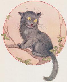"""""""She was a little startled to see the Cheshire Cat sitting on a bough of the tree a few yards off.""""  Art: Margaret W. Tarrant, Londong: Ward Lock & Co. Ltd., 1916"""