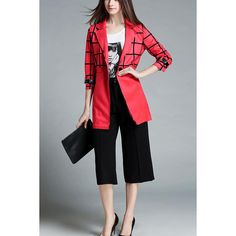 Red Lapel Plaid Print Open Front Casual Coat ($37) ❤ liked on Polyvore featuring outerwear, coats, red, lapel coat, red tartan coat, tartan coats, open front coat and red coat